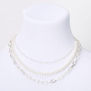 Silver Pearl Chain Multi Strand Necklace,