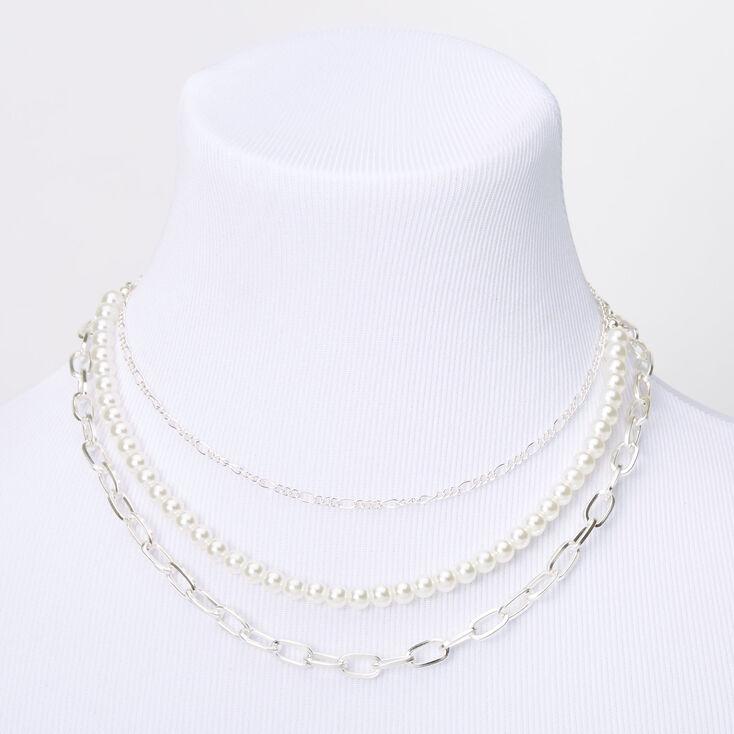 Collier multi-rangs avec chaîne et perles d'imitation couleur argentée,