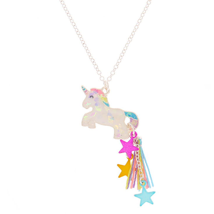 Silver Unicorn Star Tassel Pendant Necklace,