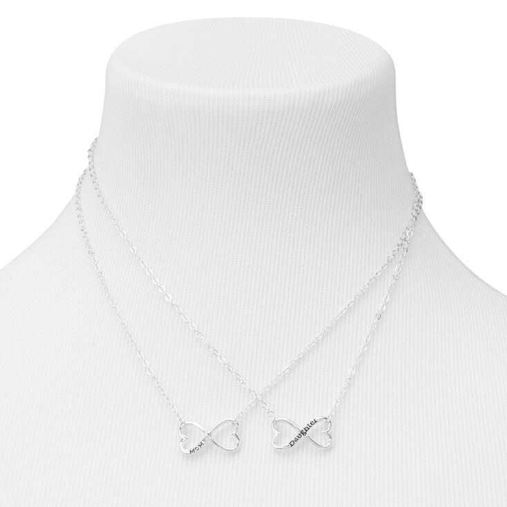 Mother Daughter Infinity Heart Pendant Necklaces - 2 Pack,