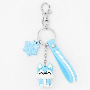Silicone Husky Keychain - Blue,