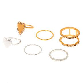 Mixed Metal Heart Rings - 6 Pack,