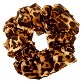 Giant Light Leopard Hair Scrunchie - Brown,
