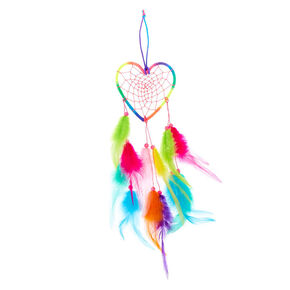 Rainbow Feather Heart Hanging Wall Art,