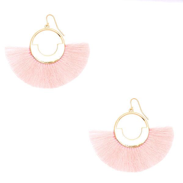 """Claire's - 2"""" geometric fan tassel drop earrings - 1"""