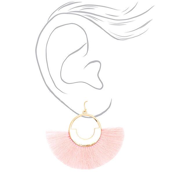 """Claire's - 2"""" geometric fan tassel drop earrings - 2"""