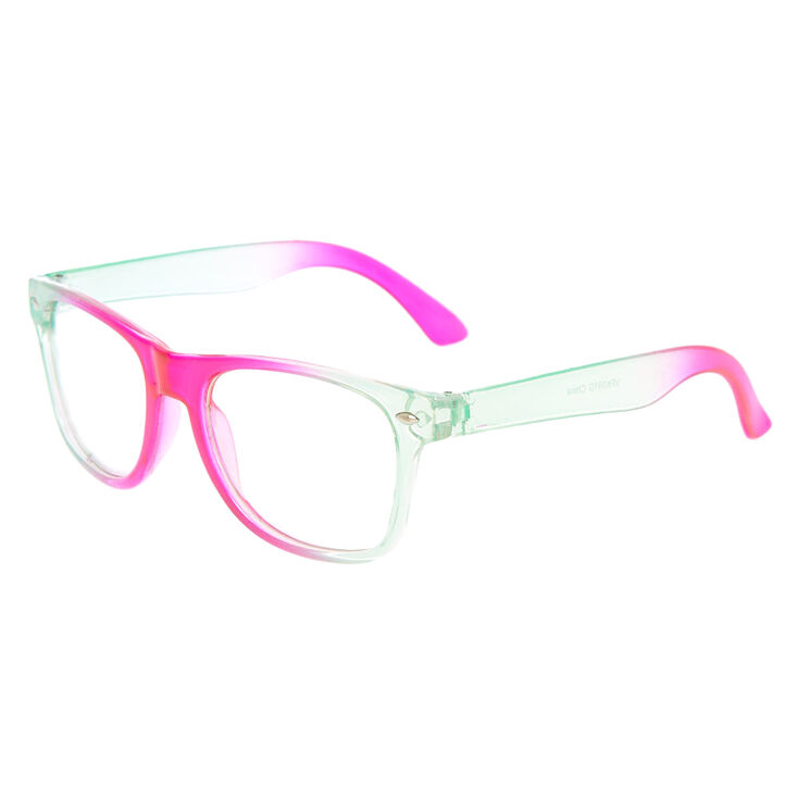 Claire's Club Ombre Retro Clear Lens Frames - Pink,