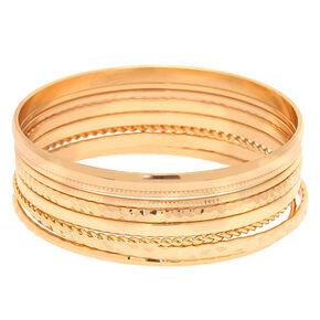 Gold Textured Bangle Bracelets - 8 Pack,