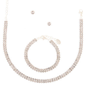 Silver Rhinestone Choker Jewellery Set - 3 Pack,