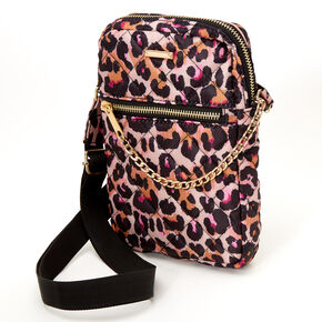 Nylon Quilted Leopard Crossbody Bag - Brown,