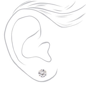 Sterling Silver Cubic Zirconia Round Stud Earrings - 7MM,