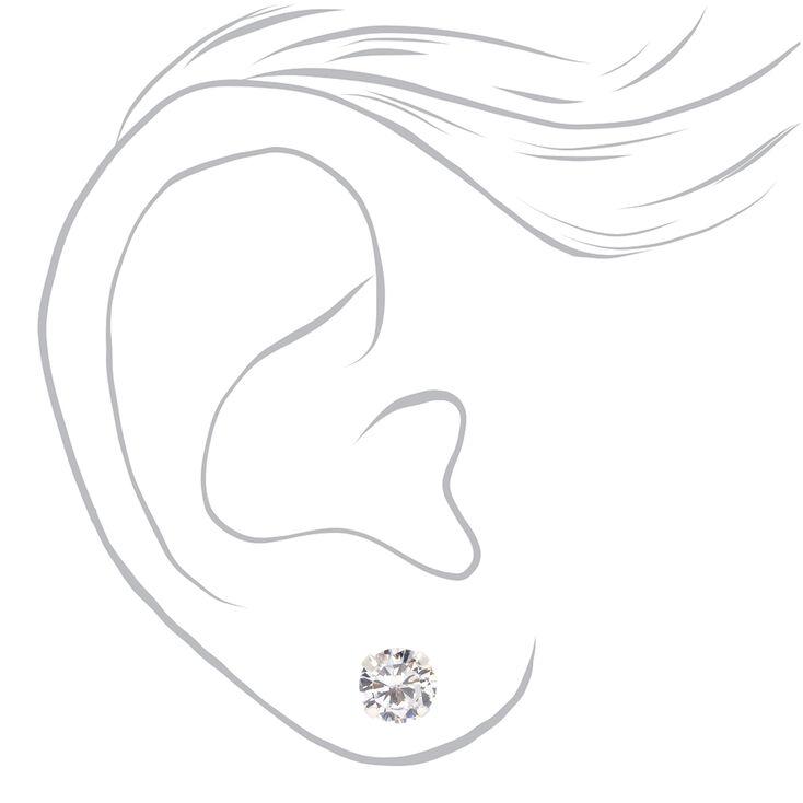 Sterling Silver Cubic Zirconia Round Stud Earrings - 7MM,