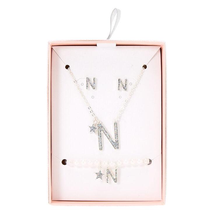 Parure de bijoux couleur argenté à paillettes irisées lettre N,