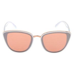 Lunettes de soleil œil de chat style mod effet miroir - Blanc,