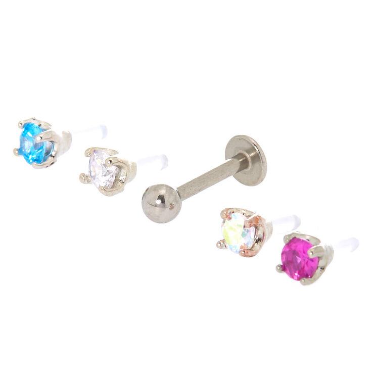 Silver 16G Multi Top Neon Tragus Stud Earrings - 5 Pack,