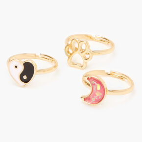 Gold Mixed Rings - 3 Pack,