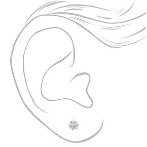 Silver Titanium Cubic Zirconia Round Stud Earrings - 6MM,
