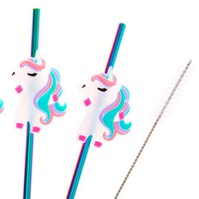 Miss Glitter the Unicorn Anodized Stainless Steel Straws - 4 Pack,