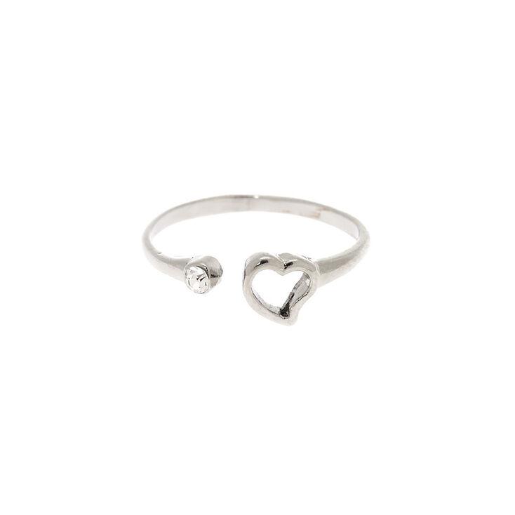 Silver Open Heart Ring,