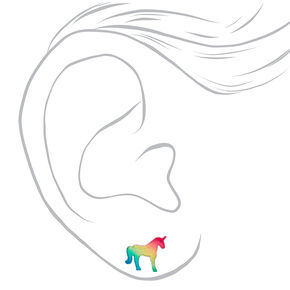 Clous d'oreilles licorne arc-en-ciel en argent,