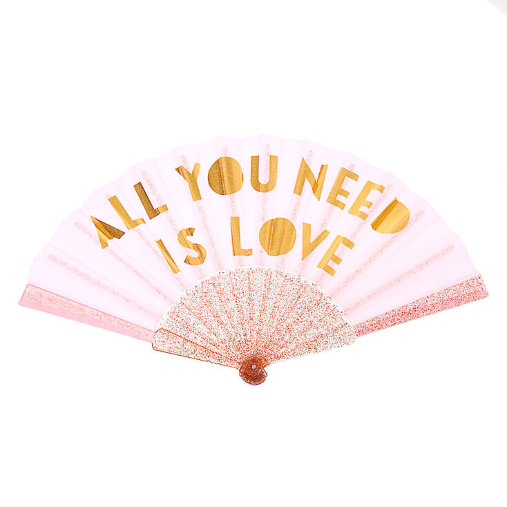 Éventail pliant All You Need is Love - Rose,