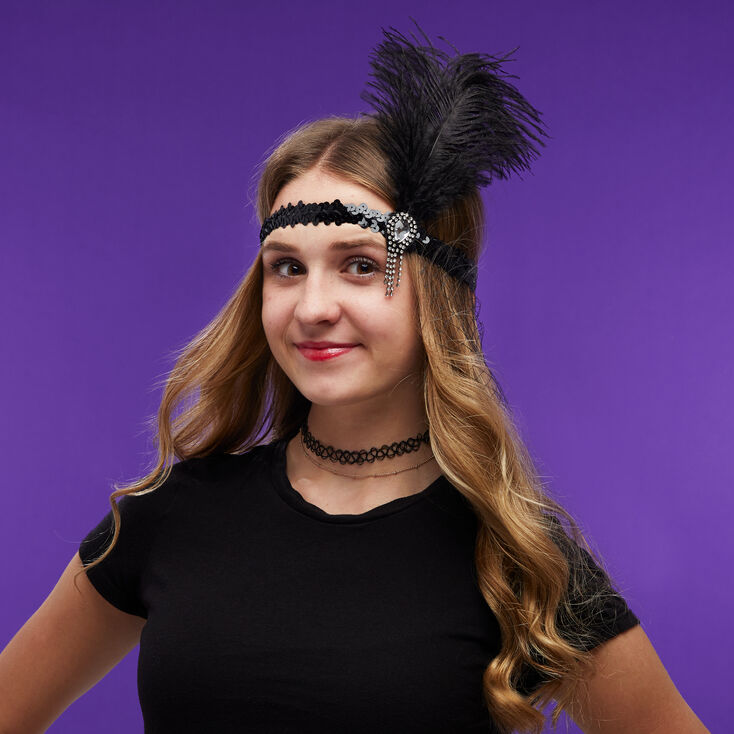 Flapper Sequin Net Headwrap - Black,