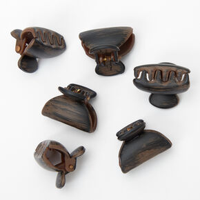 Wooden Mini Hair Claws - Brown, 6 Pack,