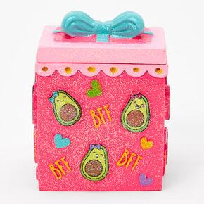 Glitter Avocado Trinket Keepsake Box - Pink,