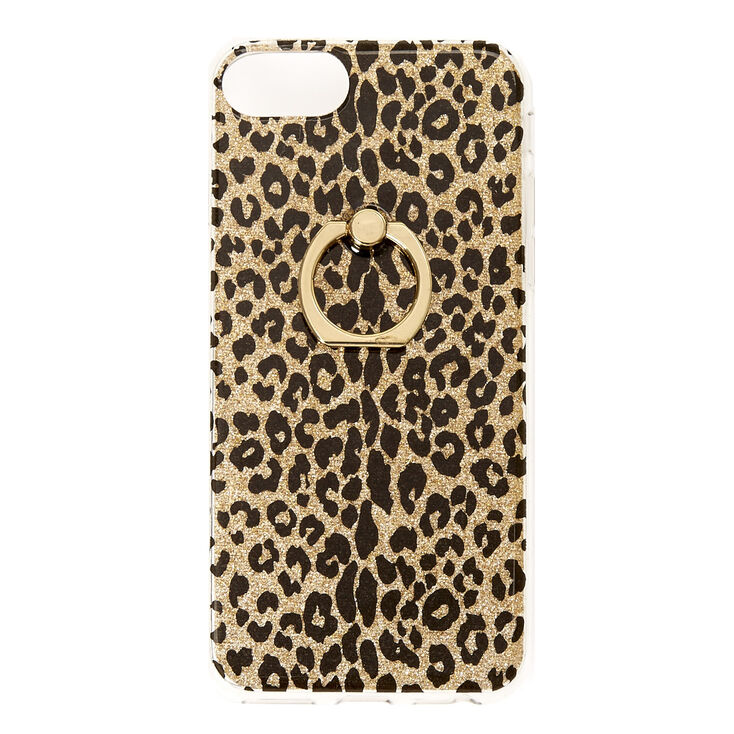 Gold Glitter Leopard with Ring Holder Phone Case  cea0f9b6ce71