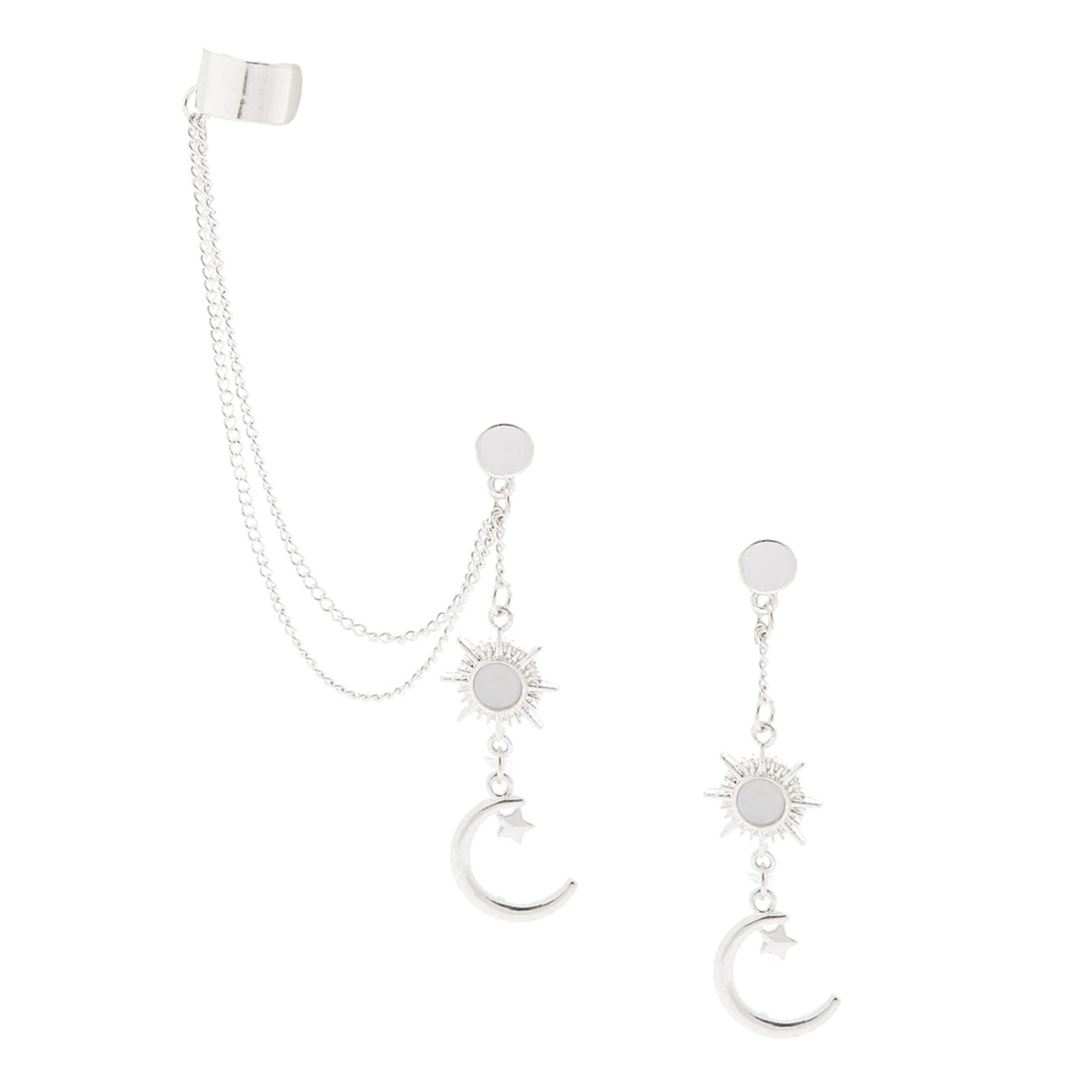 262ed321f Silver Celestial Ear Connector Earrings | Claire's