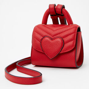 Micro Chevron Quilted Heart Crossbody Bag - Red,