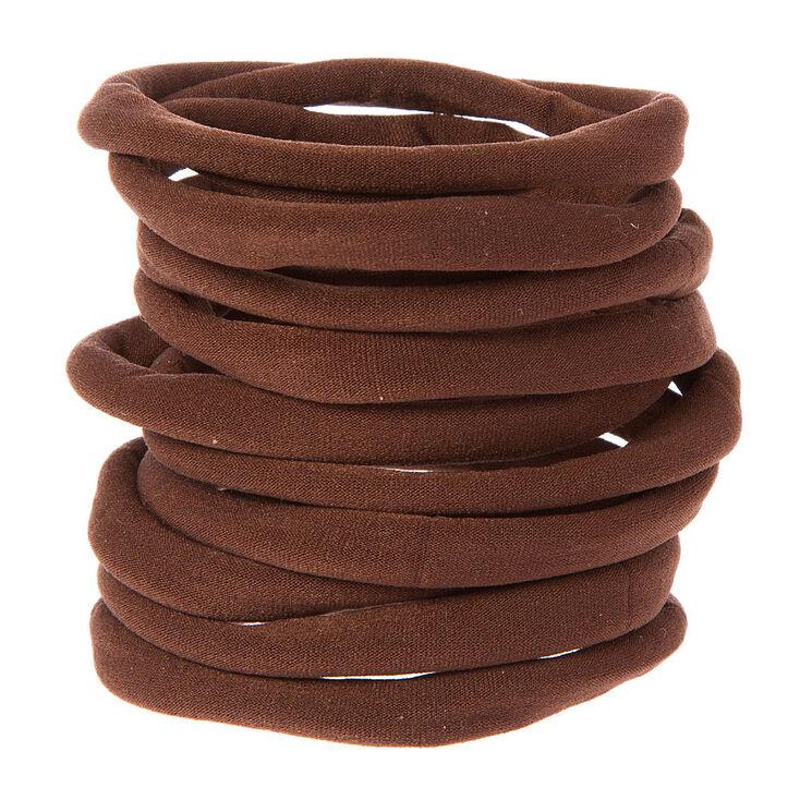 Rolled Hair Ties - Brown, 10 Pack,
