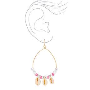 """Gold 4"""" Cowrie Seashell & Disc Hoop Earrings - Pink,"""