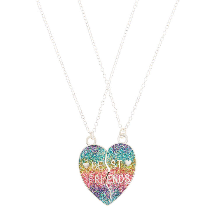 Best Friends Rainbow Heart Glitter Pendant Necklaces - 2 Pack,