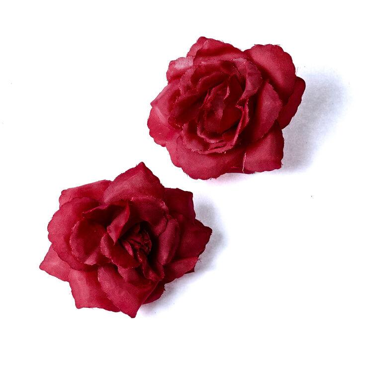 Rose Flower Hair Clips - Red, 2 Pack,