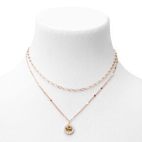 Gold Je T'aime Multi Strand Pendant Necklace,