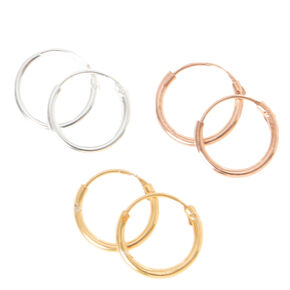 Mixed Metal Sterling Silver 10MM Hoop Earrings - 3 Pack,