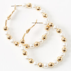 Gold 40MM Beaded Pearl Hoop Earrings - Ivory,