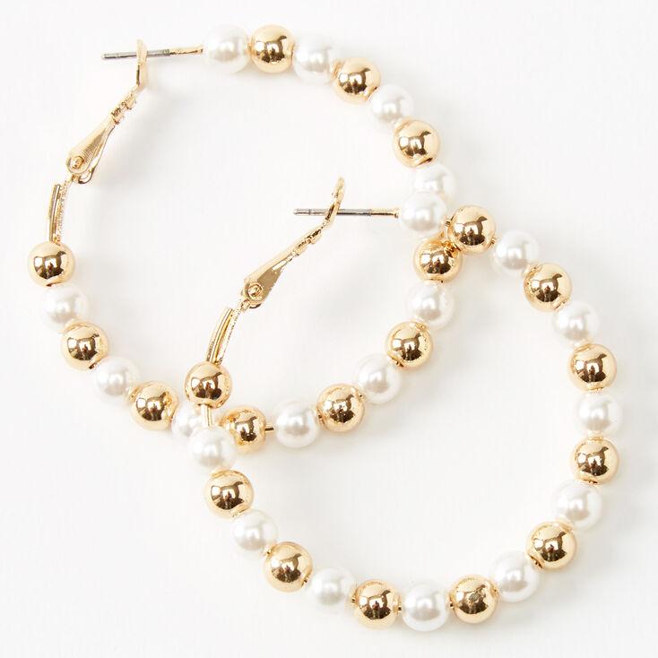 Créoles perlées 40mm couleur dorée - Ivoire,