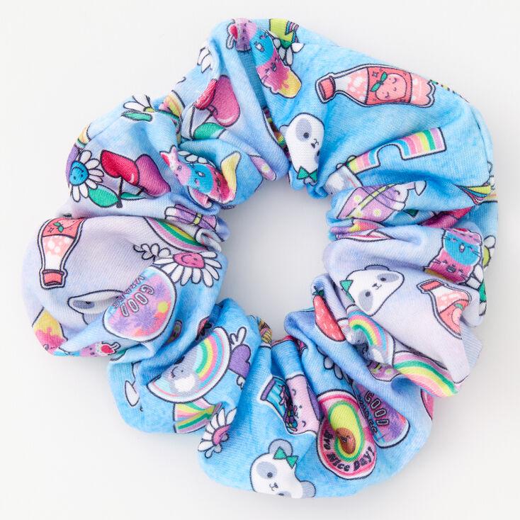 Medium Soda Pop & Rainbows Hair Scrunchie - Blue,