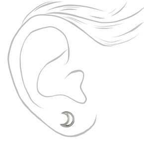 Silver Titanium Crescent Moon Stud Earrings,