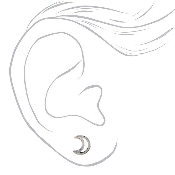 Clous d'oreilles croissant de lune couleur titanée et couleur argentée,