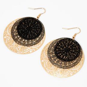 Pendantes circulaires en filigrane 5cm couleur dorée,