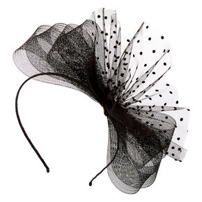 Polka Dot Bow Fascinator Headband - Black,