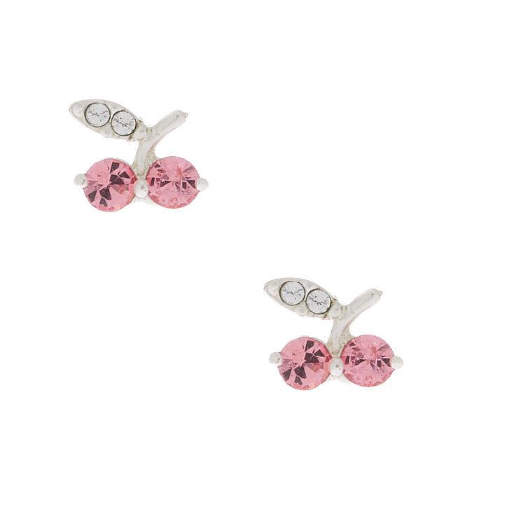 Sterling Silver Cherry Stud Earrings - Pink,