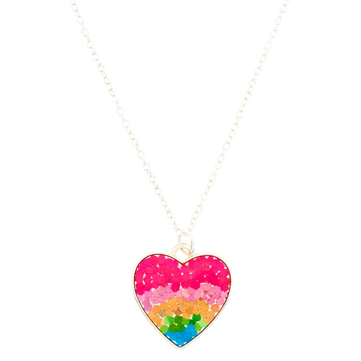 Holographic heart pendant necklace rainbow claires holographic heart pendant necklace rainbow aloadofball Images