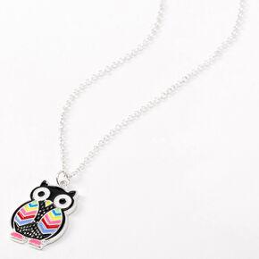 Silver Rainbow Owl Pendant Necklace,