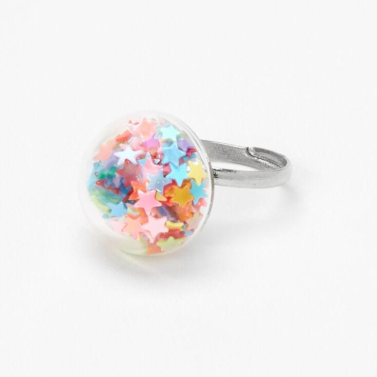 Silver Stars Shaker Ring - Rainbow,