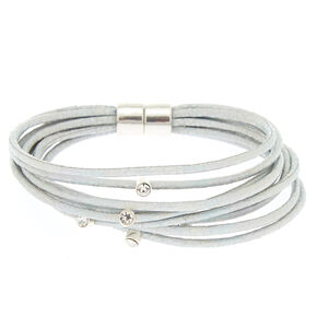 Holographic Cord Statement Bracelet - Silver,