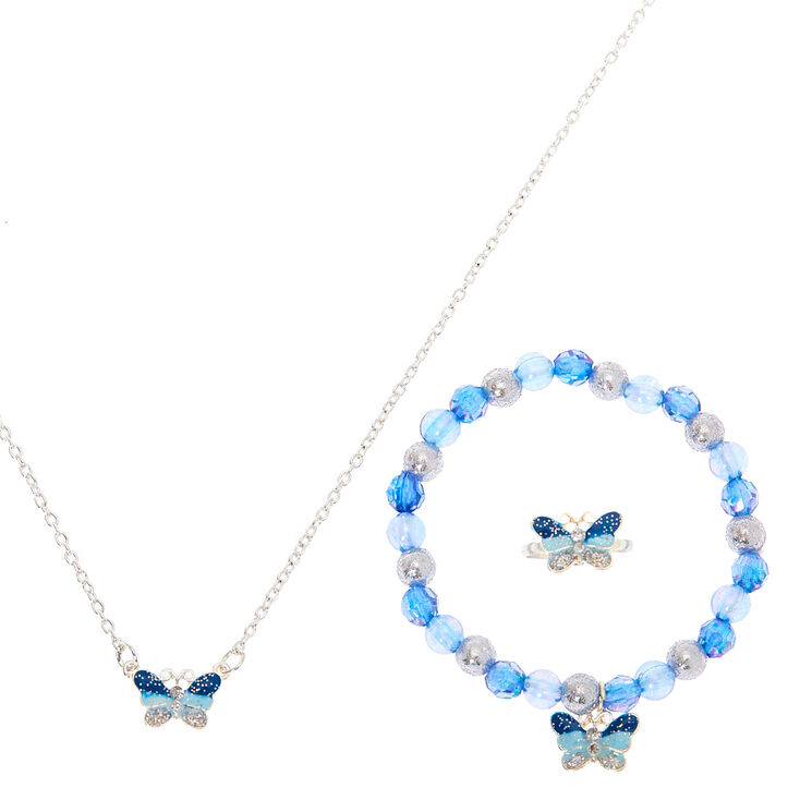 Claire's Club Glitter Butterfly Jewellery Set - 3 Pack,